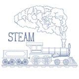 Vintage Steam Train Engrave Illustration. Vector. Illustration Royalty Free Stock Image