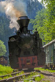 Vintage steam train locomotive - front view Royalty Free Stock Images