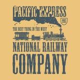 Vintage steam train poster vector illustration