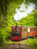 Vintage steam train. On railway track coming towards the camera Royalty Free Stock Photo