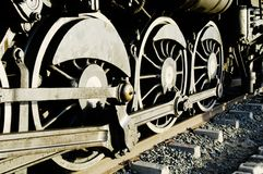Vintage steam train wheels Stock Photography