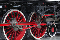Vintage steam train wheels Stock Photos