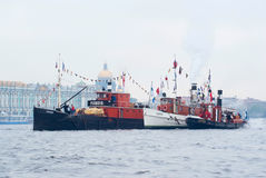 Vintage steamboats on Neva river Royalty Free Stock Photo