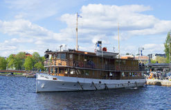 Vintage steamer Paul Wahl go for a walk on the Saimaa lake. Savonlinna Royalty Free Stock Images