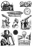 Vintage steampunk clip art set. Images stock illustration