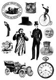Vintage steampunk clip art set. Images vector illustration