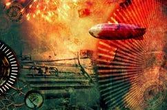 Vintage steampunk design background. With airship, clocks, fireworks and steam engine elements. Grunge textured digital photo illustration Stock Photos