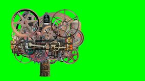 Vintage Steampunk Industrial Machine, Isolated Green Screen. Steampunk industrial machine with vintage mechanical moving parts. Technology scene is isolated with stock video footage