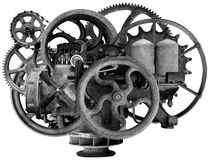 Vintage Steampunk Industrial Machine Isolated. Old, vintage, retro steampunk industrial machine engine. The antique mechanics are isolated on white Stock Photo