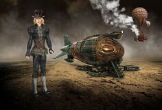 Vintage Steampunk Technology, Machines, Girl, Surreal