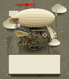 Vintage Steampunk template with a complex fantastic flying ship. Web page design in retro and grunge style. Contains the Clipping Path. There is in addition a Royalty Free Stock Images