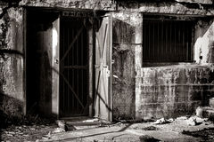 Vintage Steel Door in Old Fortified Defense Fort Royalty Free Stock Image