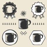 Vintage steel enamel cup outdoor symbol emblem Royalty Free Stock Photos