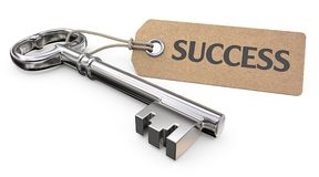 Key to Success. Vintage Steel Key and Tag label with the text Success. 3D render Stock Photos