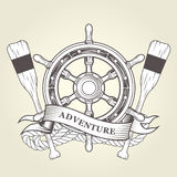 Vintage steering wheel and oars - nautical emblem with handwheel Stock Photography