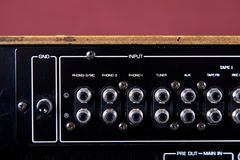 Vintage Stereo Amplifier Rear Panel Terminals Closeup Royalty Free Stock Photos