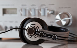 Vintage Stereo Amplifier with Headphones Stock Images