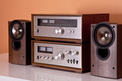 Vintage Stereo Amplifier tuner speakers. Vintage hi-fi Stereo Amplifier tuner and speakers in wooden cabinets perspective royalty free stock image