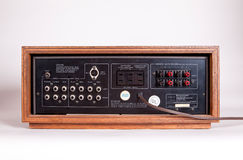 Vintage Stereo Audio Amplifier Rear Panel Royalty Free Stock Images