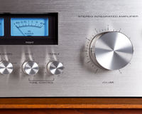 Vintage Stereo Audio Amplifier Volume Knob Royalty Free Stock Images