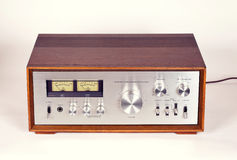 Vintage Stereo Audio Amplifier in Wooden cabinet Stock Photos