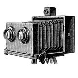 Vintage stereo camera or stereoscopic camera. Wooden stereoscopic camera also known as stereo camera. Photographic camera illustration published in Brockhaus Royalty Free Stock Image