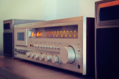 Vintage stereo cassette tape deck player receiver front panel an Royalty Free Stock Image