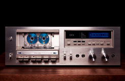 Vintage stereo cassette tape deck player recorder. Front panel royalty free stock photography