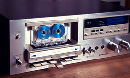 Vintage stereo cassette tape deck player recorder front panel an Stock Photos