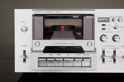 Vintage Stereo Cassette Tape Deck Recorder Front. Closeup royalty free stock images