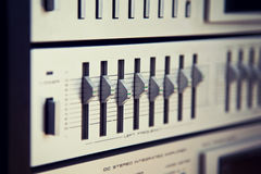 Vintage Stereo Equalizer Frontal Panel Control Knobs Angled View Royalty Free Stock Images