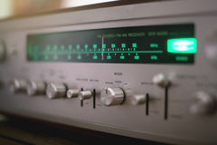 Vintage Stereo Receiver close up . Dial Pointer . Vintage audio Receiver . Dial Pointer close up Royalty Free Stock Photography