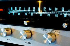 Vintage Stereo Receiver. Macro shot of the dial of a classic stereo receiver from the 1970's Stock Photo