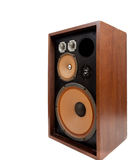 Vintage stereo speaker on a white background. A vintage stereo speaker with no cover on a white background royalty free stock photo