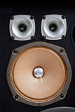 Vintage stereo speaker on a white background. A vintage stereo speaker with no cover royalty free stock images