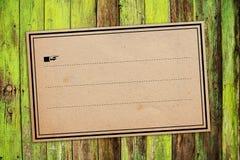 Vintage Sticker Label As Copy Space. Vintage retro Sticker paper Label Tag as Copy Space on Wooden Background Stock Images