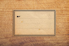 Vintage Sticker Label As Copy Space. Vintage retro Sticker paper Label Tag as Copy Space on Wooden Background Royalty Free Stock Photo