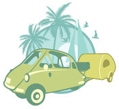 Vintage sticker with a microcar and trailer Stock Photography