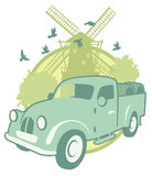 Vintage sticker with a pick-up Stock Image