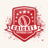 Vintage sticker, tag or label design for Cricket. Royalty Free Stock Photography