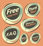 Vintage stickers with announcements and texts Royalty Free Stock Image