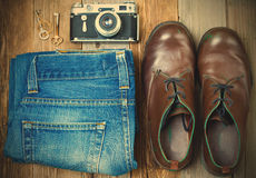 Vintage still life with aged boots Royalty Free Stock Photo