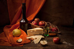 Vintage still life with alcohol and apples Stock Image