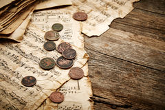 Vintage still life with ancient coins Royalty Free Stock Images