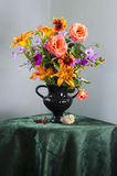 Vintage Still life with a bouquet of wildflowers in a vase Stock Photo