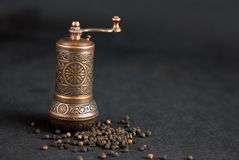 Vintage still life with brass pepper mil Royalty Free Stock Image