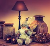 Vintage still life with Christmas decoration. royalty free stock images