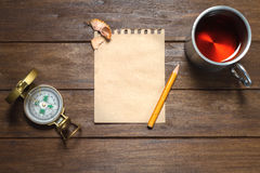Vintage Still-Life With Compass, Pencil, Paper And Cup Stock Photography