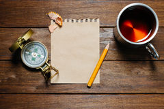 Vintage Still-Life With Compass, Pencil, Paper And Cup Stock Photos