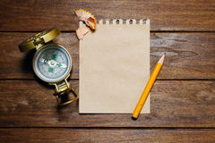 Vintage Still-Life With Compass, Pencil, Paper Royalty Free Stock Images